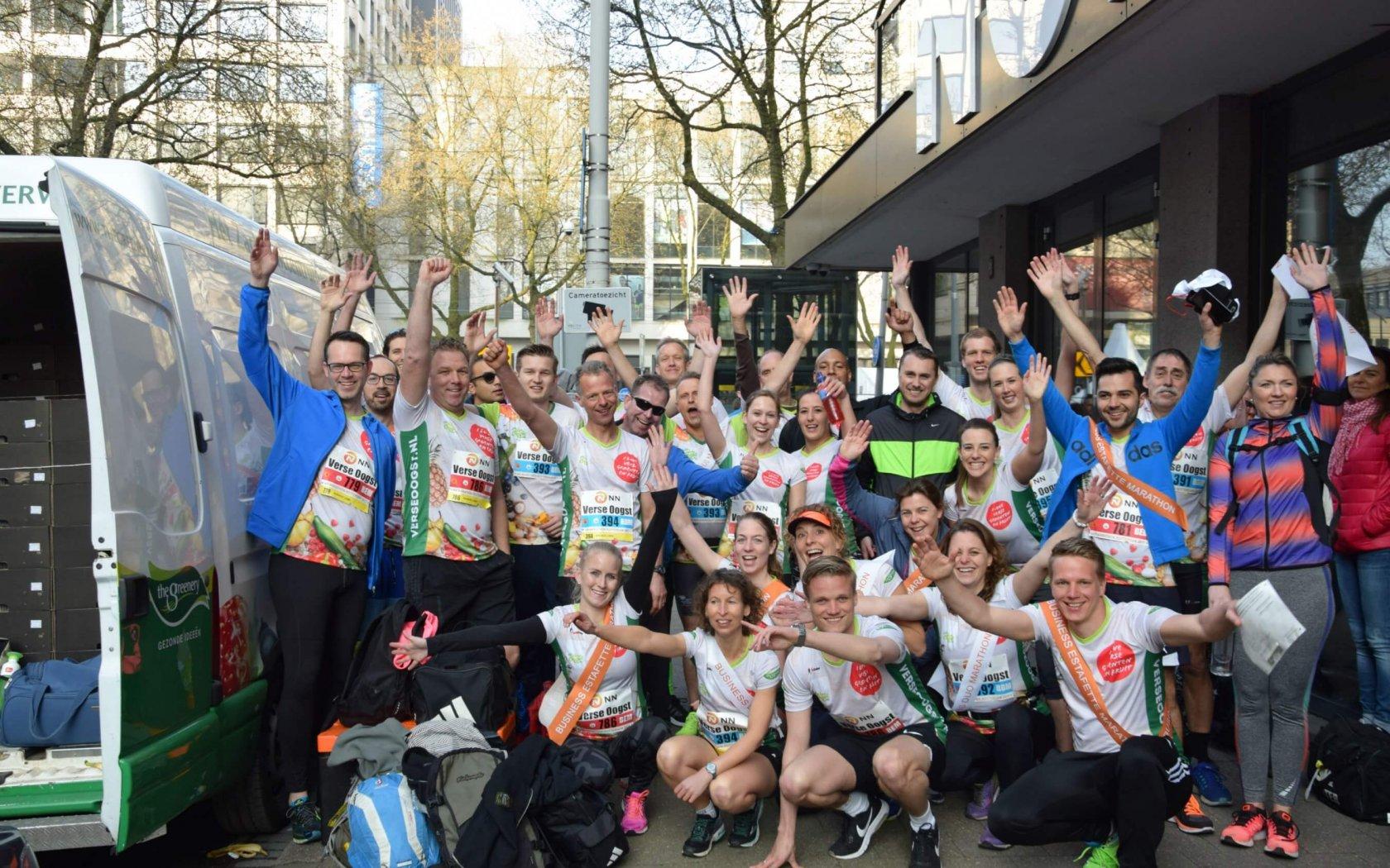 Medewerkers en telers The Greenery lopen Marathon Rotterdam